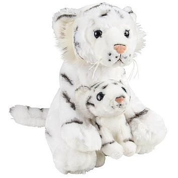 11 and 5 Inch Stuffed White Tiger Mom and Baby Plush Floppy Zoo Animal Family Collection