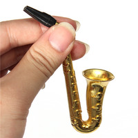Excellent Quality New Fashion 1pc Small Saxophone Portable Herb Pipe (Metal)