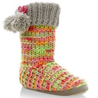 Neon Pink Knitted Pom Pom Side Slipper Boots