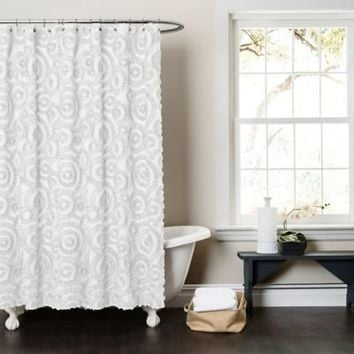 Lush Décor Keila Fabric Shower Curtain in White