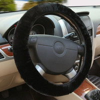 Black Winter Essential Warm Furry Fluffy Thick Faux Fur Car Steering Wheel Cover [7640382598]