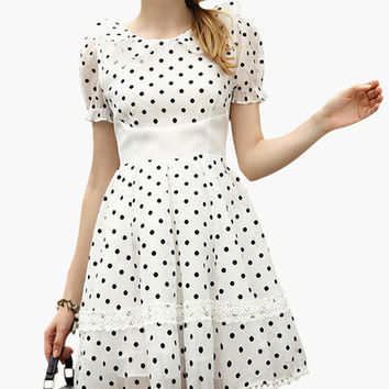 White Polka Dot Ruffled Collar Puff Sleeve with Lace Accent Mini Dress