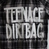 """One Direction / 5 Seconds of Summer Inspired """"TEENAGE DIRTBAG"""" Plaid Shirt Mens L"""