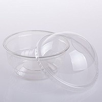 GOLDEN APPLE, 5 oz Clear Plastic Cups for Ice Cream, Snack bowl with Dome lids no hole 30sets