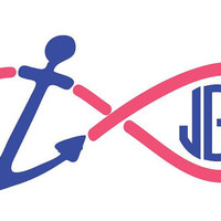 Anchor Infinity Monogram Car Decal Sticker