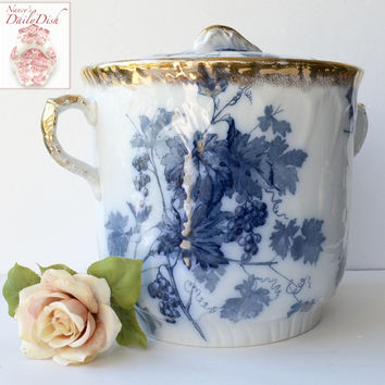 Antique Victorian Staffordshire Aesthetic Flow Blue Transferware Dual Handled Floral Planter/ Urn / Waste Bucket Slop Pail Lustre Gold Finish