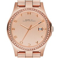 Women's MARC BY MARC JACOBS 'Henry' Crystal Bezel Bracelet Watch, 40mm - Rose Gold