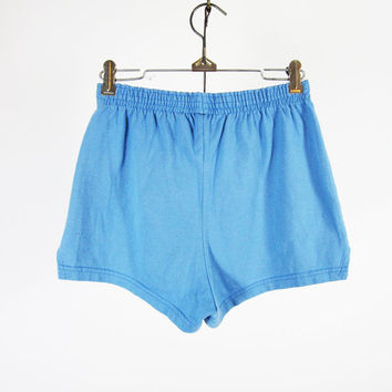 Vintage Track Shorts Sky Blue Short Running Shorts Soffe - Unisex Medium
