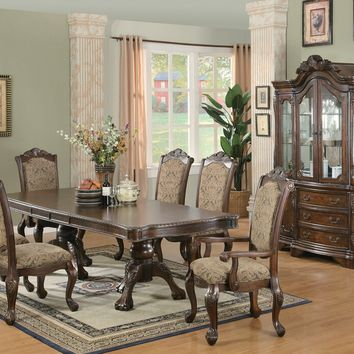 7 pc Andrea II dining collection brown cherry finish wood double pedestal dining table set