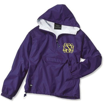 Purple Monogrammed Personalized Half Zip Rain Jacket Pullover by Charles River Apparel