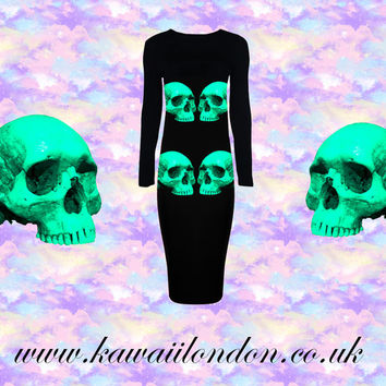 Neon Skull Dress Sizes S-XL Teal Blue Black Party Maxi Dress lbd tumblr / grunge / seapunk / pastel goth / pastel grunge / 90s / hipster