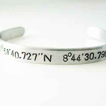 Coordinate Bracelet - Latitude Longitude - Custom Bracelet - Geographical Address - Gift for a Freind
