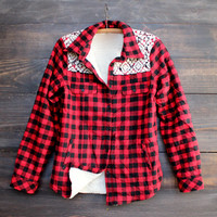 flannel jacket shirt red / black