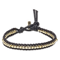 Bracelet, waxed cotton cord with gold-finished brass and steel, black, 8mm wide with hex nut, 7-1/2 inches with button clasp. Sold individually. - Fire Mountain Gems and Beads