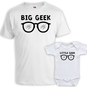 Matching Family Shirts Daddy And Me Clothing Father Son Shirts Dad And Daughter Gifts For New Dad Big Geek Little Geek Bodysuit MAT-756-757