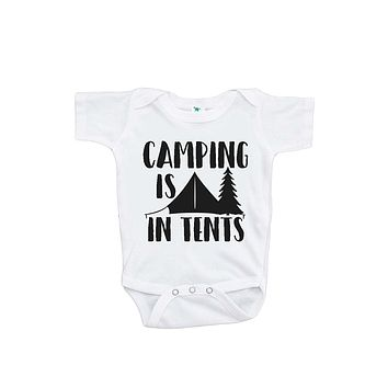 Custom Party Shop Baby's Camping Is In Tents Outdoors Onepiece