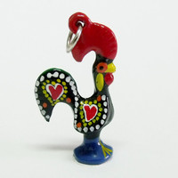 Portugal rooster folk art Galo Barcelos charm jewelry Black necklace Good luck pendant handpainted made in Portugal