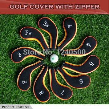 Free Shipping 10 Pcs/bag Golf Club Iron Covers Headcovers  Protector For Golf Sport, Black and yellow