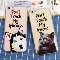 "Funny dog&cat ""Don't touch my iPhone�Phone Case Cover for Apple iPhone 7 7 Plus 5S 5 SE 6 6S 6 Plus 6S Plus + Nice gift box! LJ161005-005"