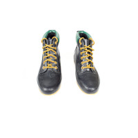 8 | Vintage Rain Boots /  lace up rubber rain boots galoshes booties / navy blue black / outdoor hiking waterproof /  size 8