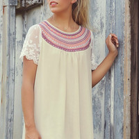 Seabrook Taupe Embroidered Chiffon Babydoll Dress
