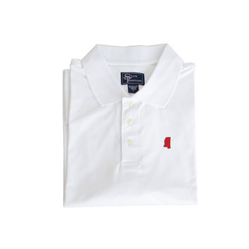 Mississippi Oxford Clubhouse Performance Polo White