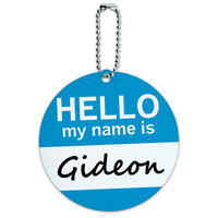 Gideon Hello My Name Is Round ID Card Luggage Tag
