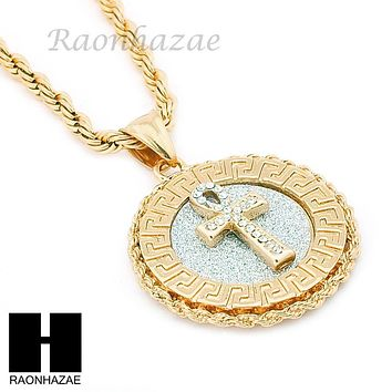 "MENS STAINLESS STEEL ANKH CROSS MEDALLION PENDANT 24"" ROPE CHAIN NECKLACE NP013"