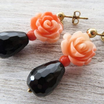 Pink coral flower earrings, black onyx earrings, dangle earrings, gold plated 925 sterling silver earrings, rose earrings, spring jewelry