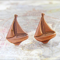 Copper Sailboat post earrings