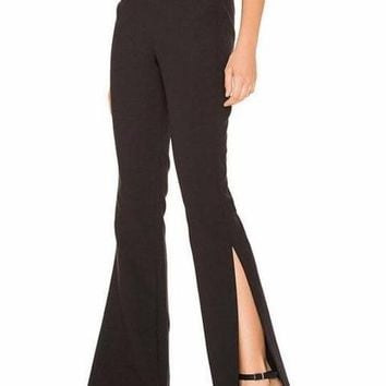 High Waist Flares with Side Slits
