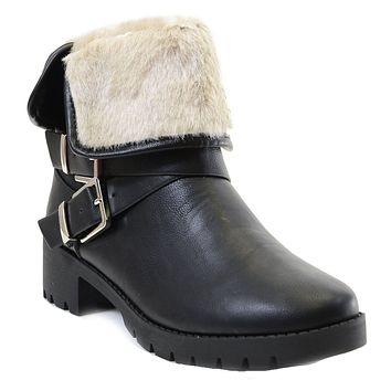 Chunky Buckle Shearling Fur Fold Over Combat Lug Vegan Women's Boots