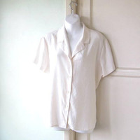 Beautifully Basic Beige Silk Camp Shirt; Women's Large Vintage Evan Picone Short Sleeve Woven Top; U.S. Shipping Included