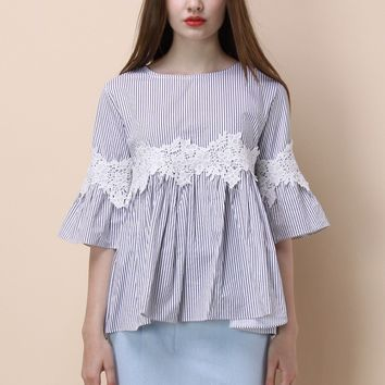 Floral on Stripe Dolly Top