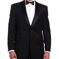 Tommy Hilfiger Men's 2 Button Side Vent Trim Fit Tuxedo Jacket With Shawl Collar, Black, Small/36