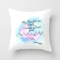 My Thoughts Are Stars Watercolor Throw Pillow by Diytzy