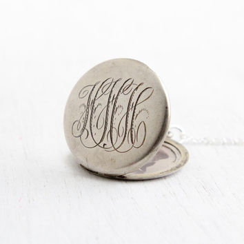 Antique Monogrammed Locket Necklace- Early 1900s Edwardian Art Deco Sterling Silver Initial Round Monogrammed Pendant