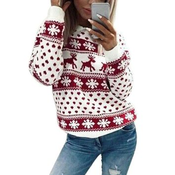 Novelty Christmas Tops Autumn Long Sleeves O-neck Female Sweaters Clothing Womens Ladies Xmas Jumper Top Sweater Ladies Women