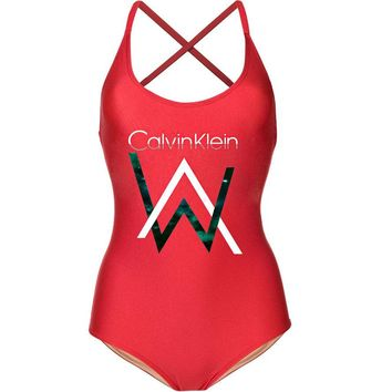 CK Calvin Klein Summer Popular Women Print One Piece Bikini Swimsuit Bodysuit Red