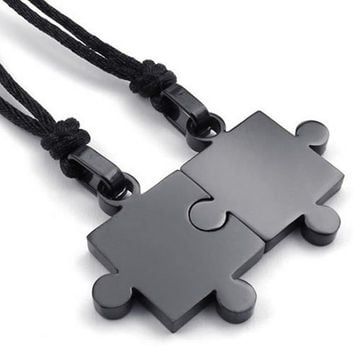 Fashion Jewelry 2pcs Lovers Mens Womens Puzzle Stainless Steel Pendant Love Necklace Set, Couples Valentine's Gift for Him and Her,  Color Black, with 20-22 inch Rope Chain (Size: 2.8 cm, Color: Black) (With Thanksgiving&Christmas Gift Box)[7655245126]