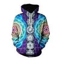 Psychedelic Hoodies Trippy Visionary Artwork Rainbow Mandala Chakra Art Sublimation Print Hoodies Men Plus Size 3XL