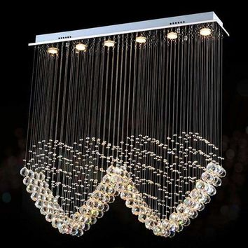 VALLKIN Square LED Ceiling Chandeliers Lamps Crystal Hanging Pendant Lamp Fixtures For Villa Mall with Ac 110 to 240v