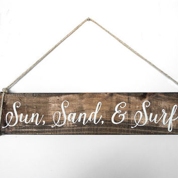 Beach Sign - Nautical Wood Sign -  Reclaimed Pallet Wood Sign - Hanging Wood Sign - Beach Home Wall Decor- Beach House Decor Idea