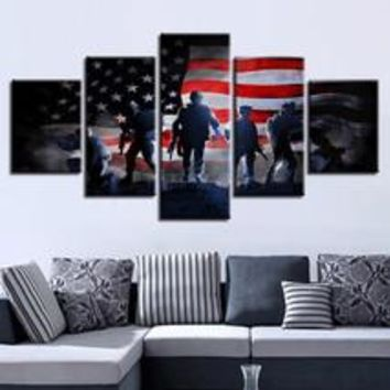 American Flag Soldiers Military Canvas Print Wall Art Home Decor