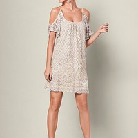 Ivory Multi Cold Shoulder Lace Dress | VENUS
