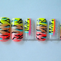 Abstract Press On Fake Nails Colorful Instant Manicure Urban Nail Designs Hand Painted Nail Art by Nail Technician