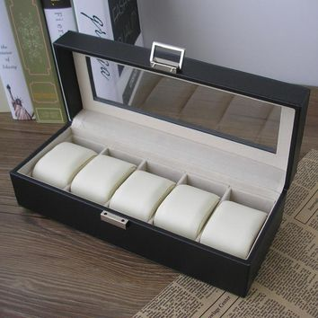 5-slot wood structure PU leather watch storage box display case jewelry box transparent glass top lid black 1251A