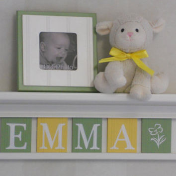 "Yellow and Green Baby Girl Nursery Decor - Personalized for EMMA with Flower - 24"" Linen White Shelf 5 Letters - Baby Girl Shower Gift"