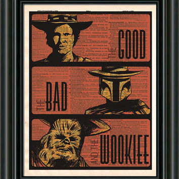 Star wars art print, Han Solo, Boba Fett, Chewbacca, the Good the Bad and the Wookie, vintage star wars art, dictionary print