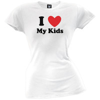 I Heart My Kids Juniors T-Shirt